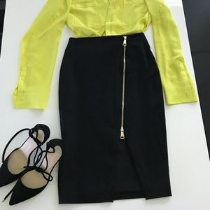Black Pencil Skirt with Two Way Gold Zip